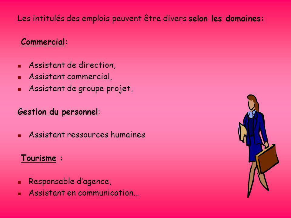 Les intitulés des emplois peuvent être divers selon les domaines: