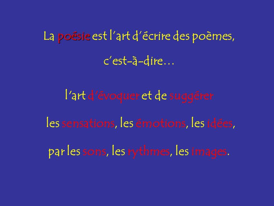 La poésie est l'art d'écrire des poèmes, c'est-à-dire…