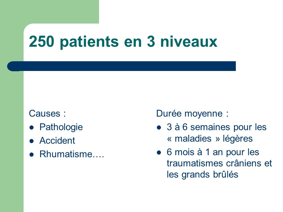 250 patients en 3 niveaux Causes : Pathologie Accident Rhumatisme….