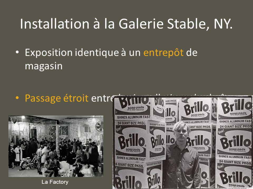 Installation à la Galerie Stable, NY.
