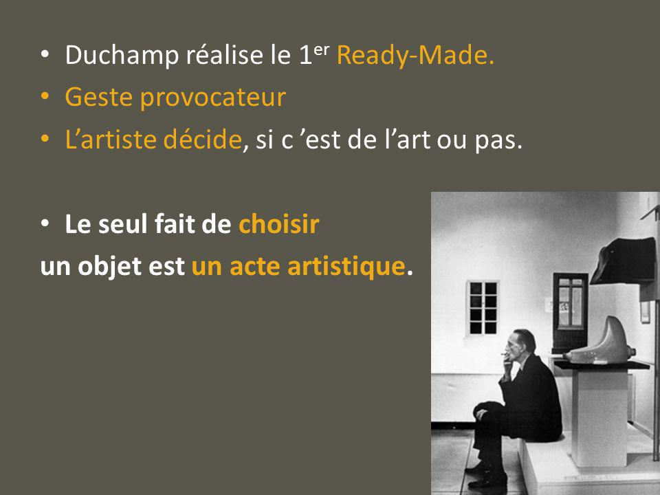 Duchamp réalise le 1er Ready-Made.