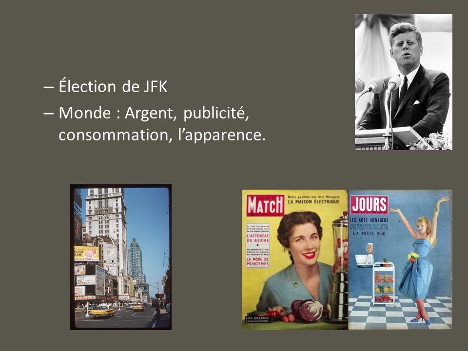 Élection de JFK Monde : Argent, publicité, consommation, l'apparence.