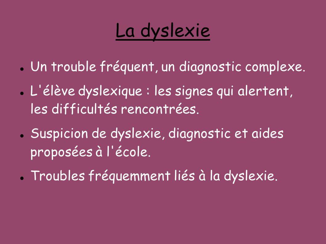 La dyslexie Un trouble fréquent, un diagnostic complexe.