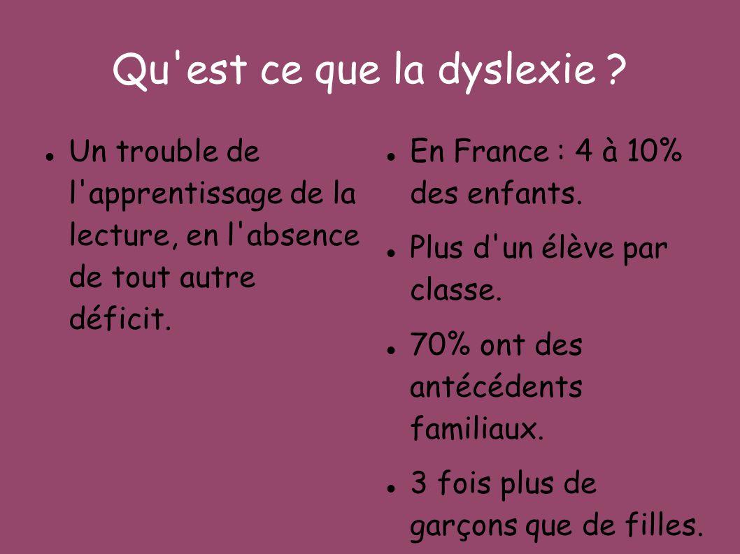 Qu est ce que la dyslexie