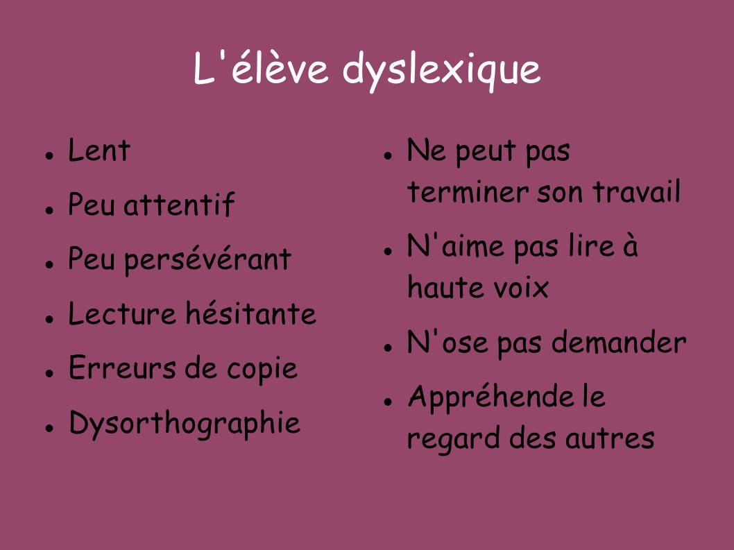 L élève dyslexique Lent Peu attentif Peu persévérant Lecture hésitante