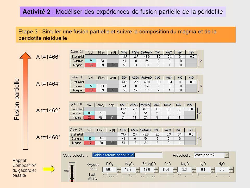 Activité 2 : Modéliser des expériences de fusion partielle de la péridotite