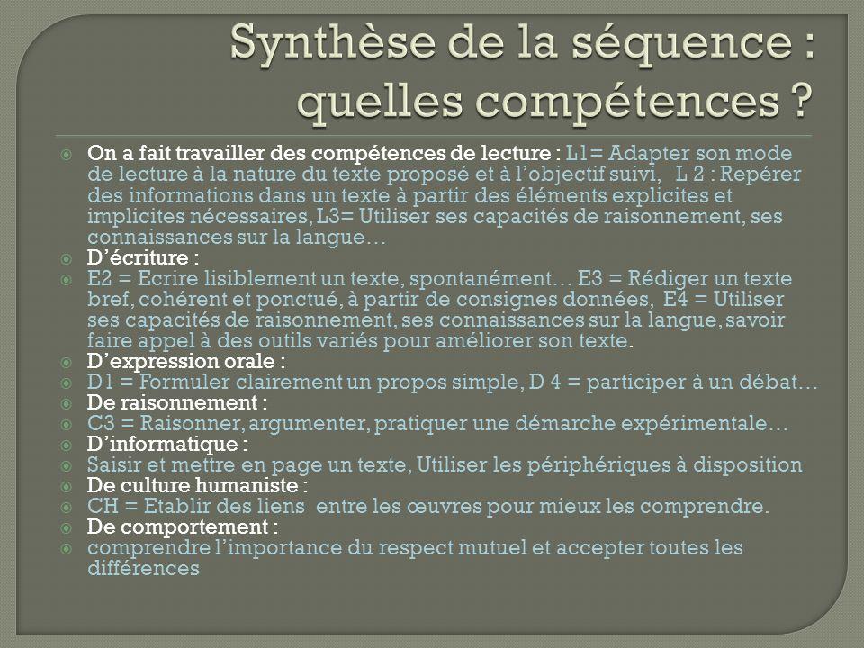Synthèse de la séquence : quelles compétences