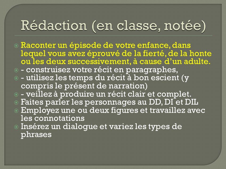 Rédaction (en classe, notée)