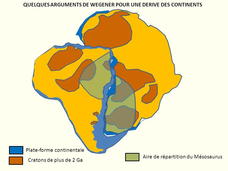 QUELQUES ARGUMENTS DE WEGENER POUR UNE DERIVE DES CONTINENTS