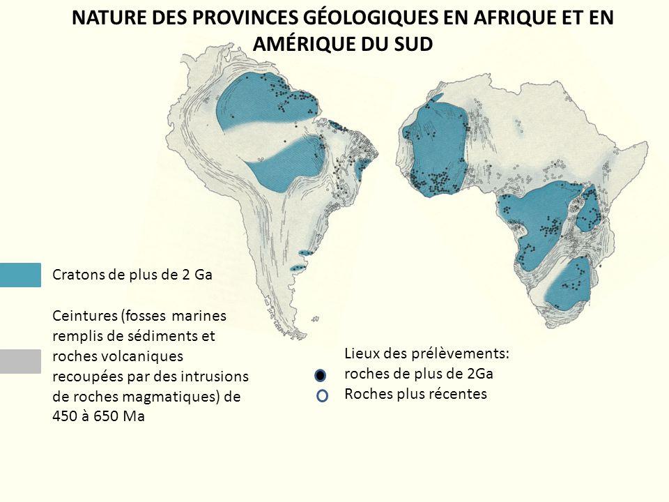 NATURE DES PROVINCES GÉOLOGIQUES EN AFRIQUE ET EN AMÉRIQUE DU SUD