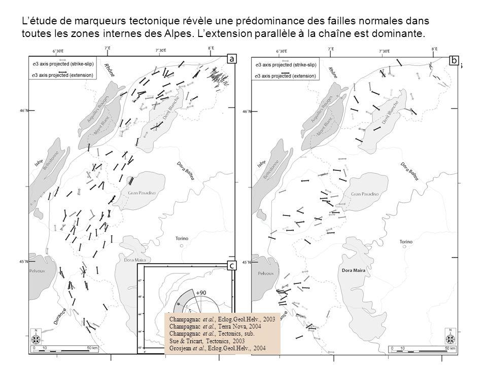 L'étude de marqueurs tectonique révèle une prédominance des failles normales dans toutes les zones internes des Alpes. L'extension parallèle à la chaîne est dominante.