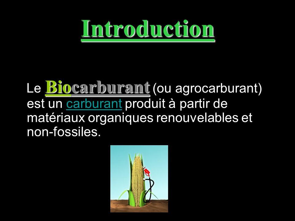 Introduction Le Biocarburant (ou agrocarburant) est un carburant produit à partir de matériaux organiques renouvelables et non-fossiles.