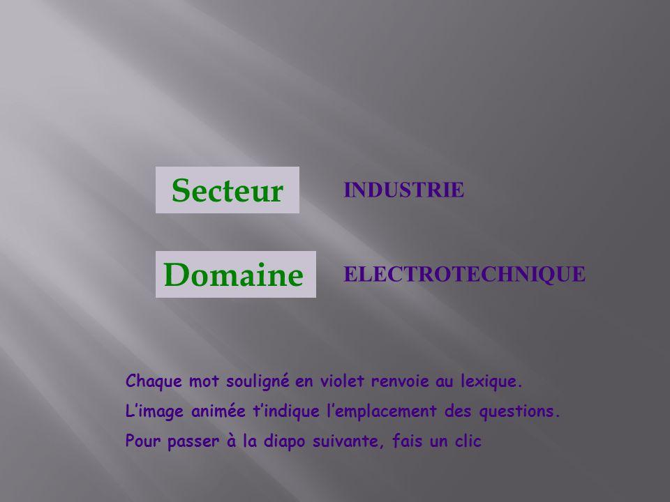 Secteur Domaine INDUSTRIE ELECTROTECHNIQUE