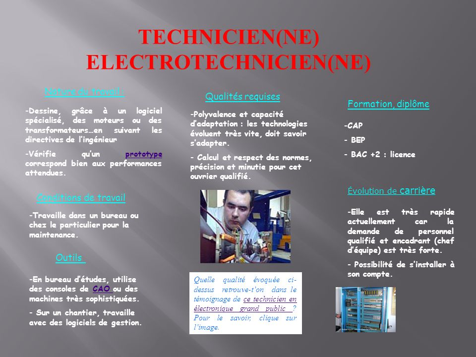 TECHNICIEN(NE) ELECTROTECHNICIEN(NE)