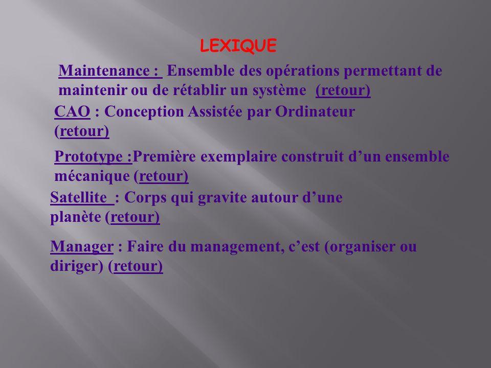 LEXIQUE Maintenance : Ensemble des opérations permettant de maintenir ou de rétablir un système (retour)