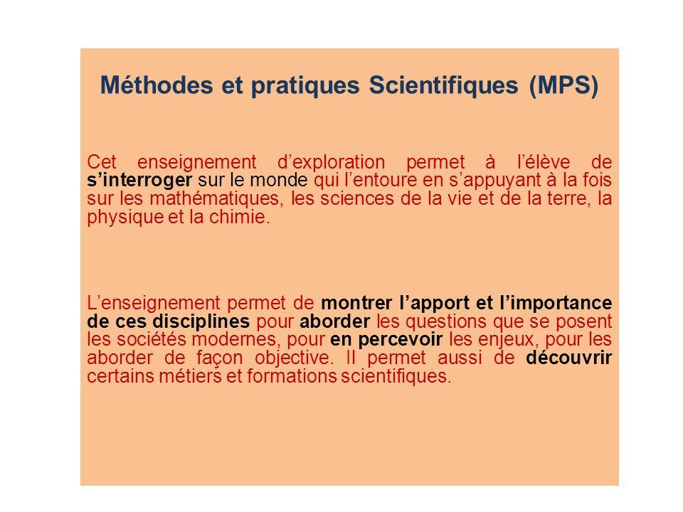 Méthodes et pratiques Scientifiques (MPS)