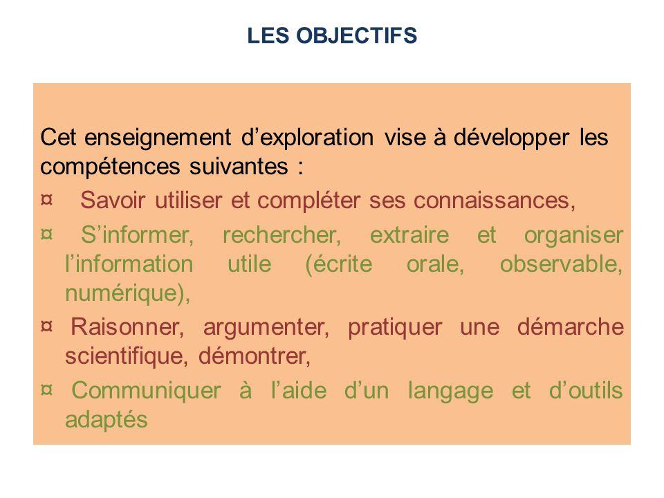 LES OBJECTIFS Cet enseignement d'exploration vise à développer les compétences suivantes :