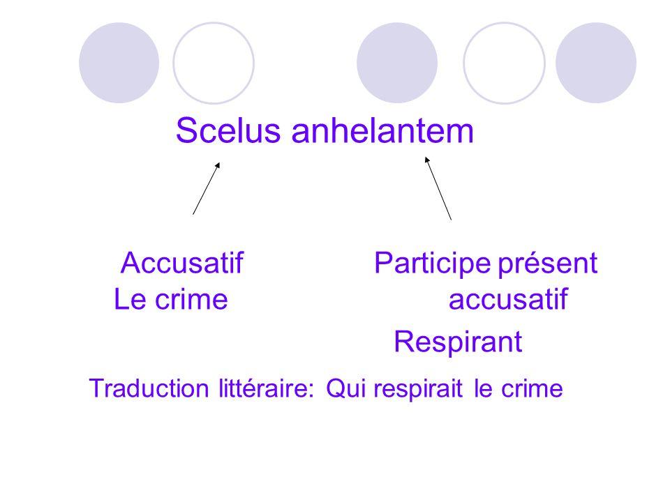 Scelus anhelantem Accusatif Participe présent Le crime accusatif