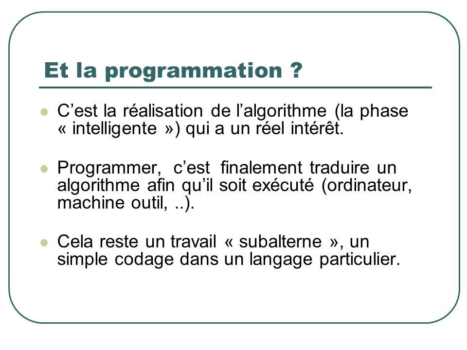 Et la programmation C'est la réalisation de l'algorithme (la phase « intelligente ») qui a un réel intérêt.