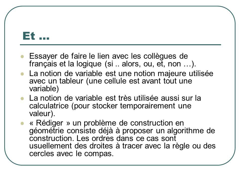 Et … Essayer de faire le lien avec les collègues de français et la logique (si .. alors, ou, et, non …).