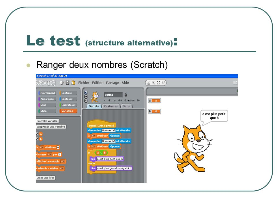 Le test (structure alternative):
