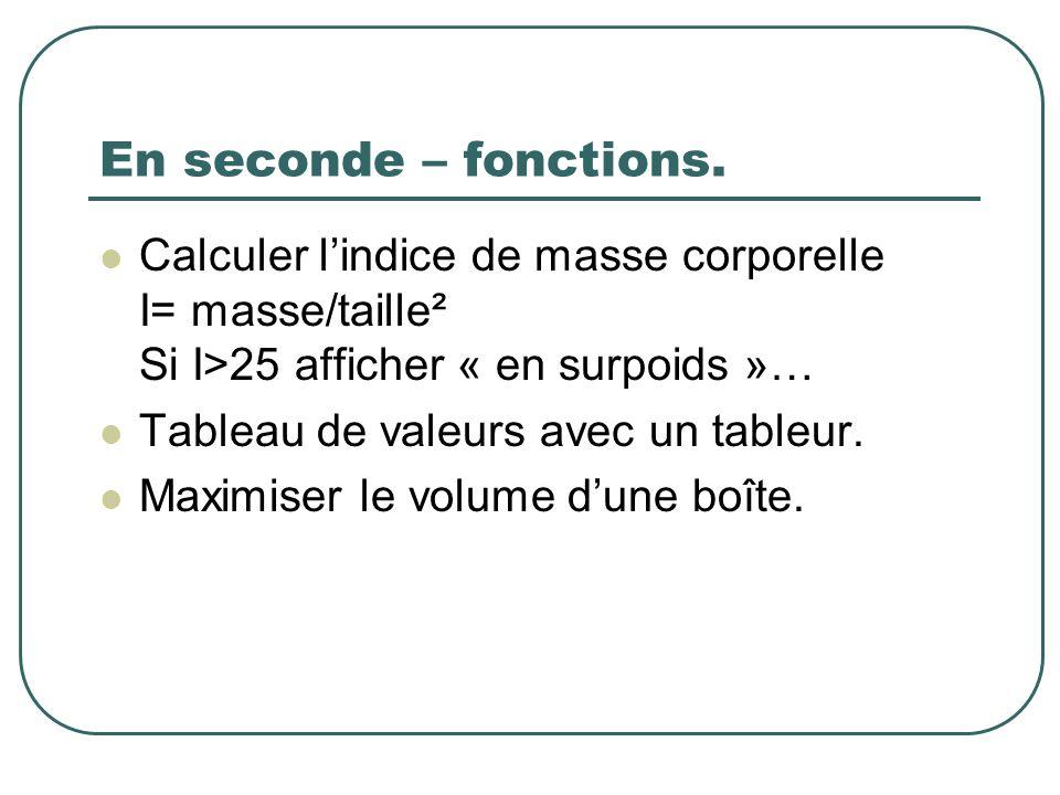 En seconde – fonctions. Calculer l'indice de masse corporelle I= masse/taille² Si I>25 afficher « en surpoids »…