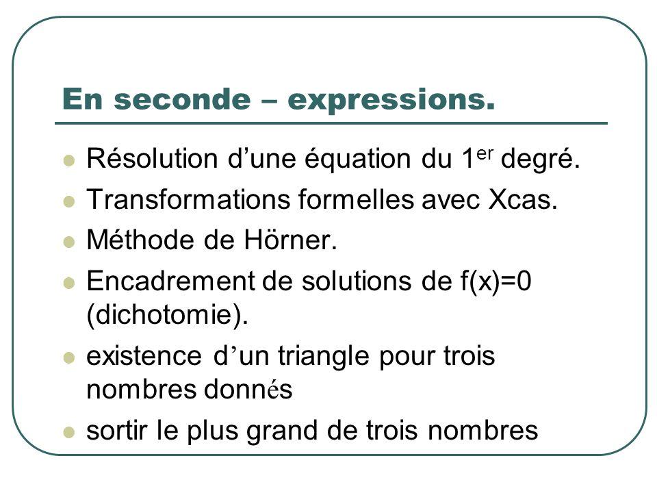 En seconde – expressions.