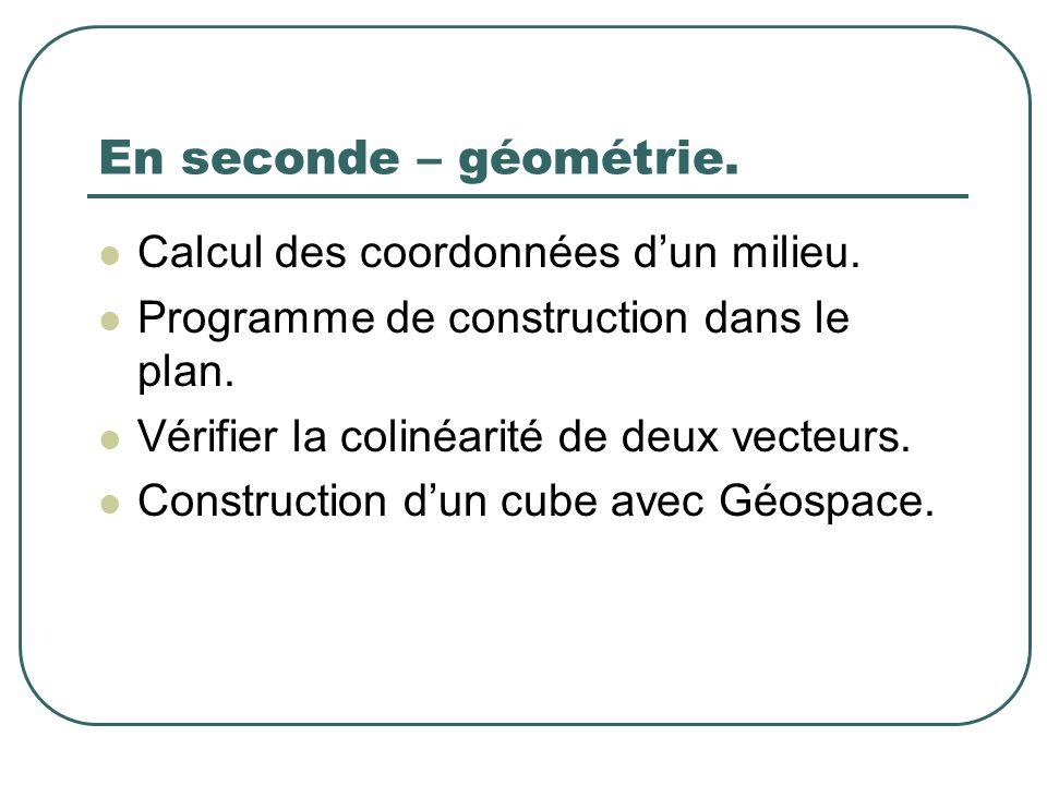 En seconde – géométrie. Calcul des coordonnées d'un milieu.