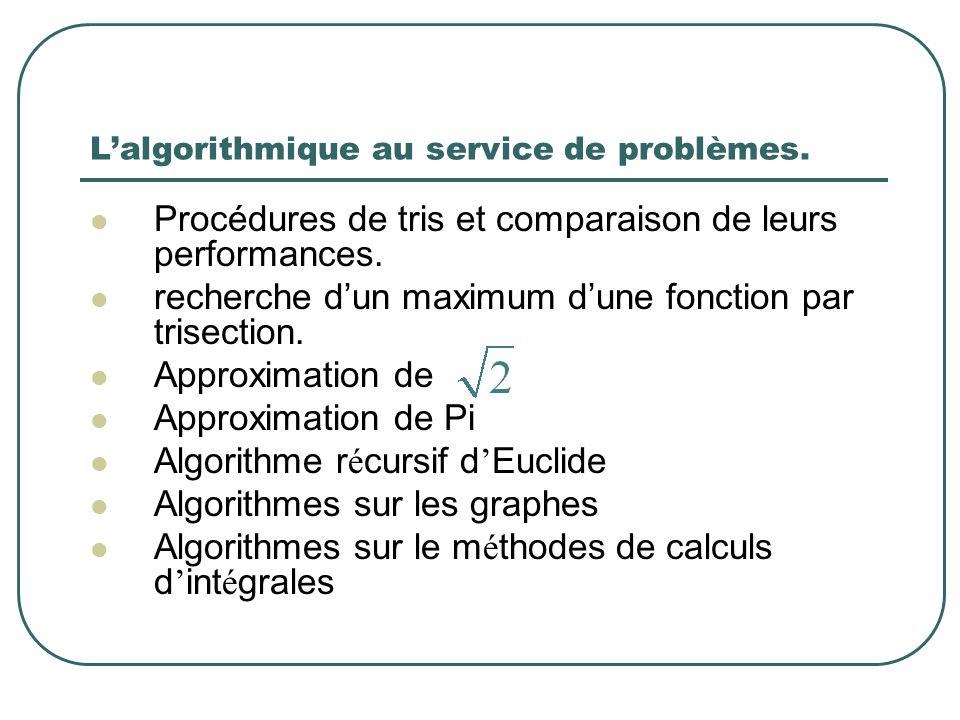 L'algorithmique au service de problèmes.