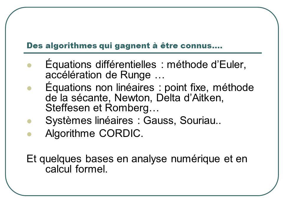 Des algorithmes qui gagnent à être connus….