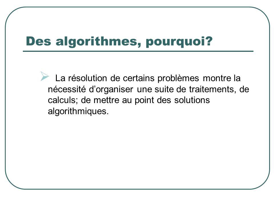 Des algorithmes, pourquoi