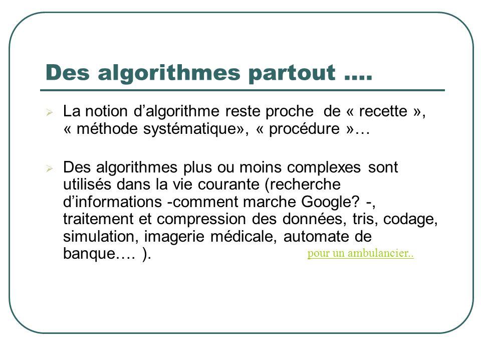 Des algorithmes partout ….