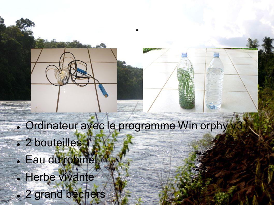 . Ordinateur avec le programme Win orphy v3 2 bouteilles