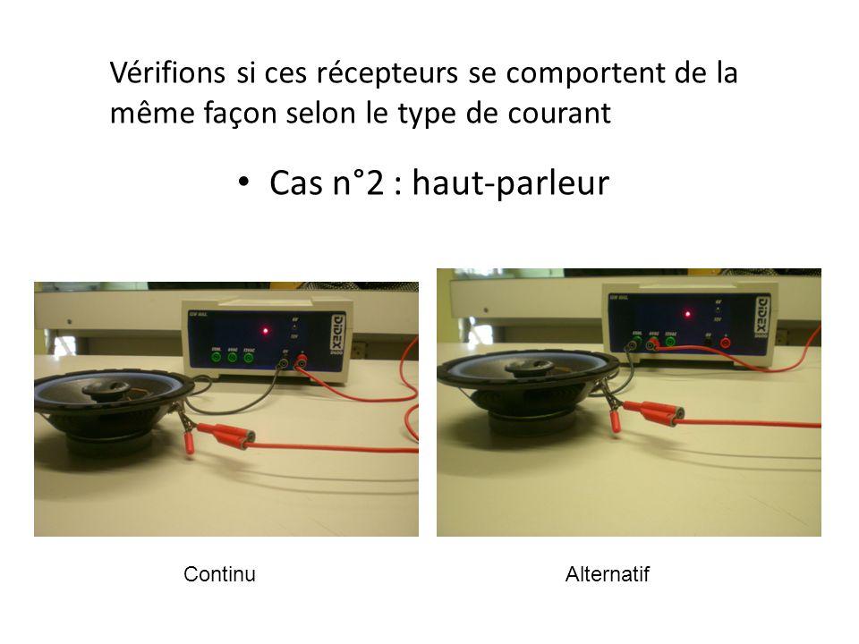 Vérifions si ces récepteurs se comportent de la même façon selon le type de courant