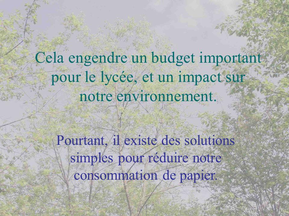 Cela engendre un budget important pour le lycée, et un impact sur notre environnement.
