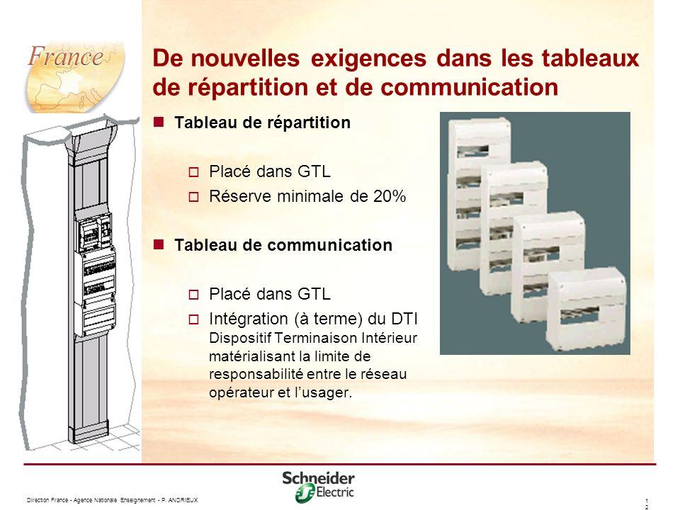 De nouvelles exigences dans les tableaux de répartition et de communication