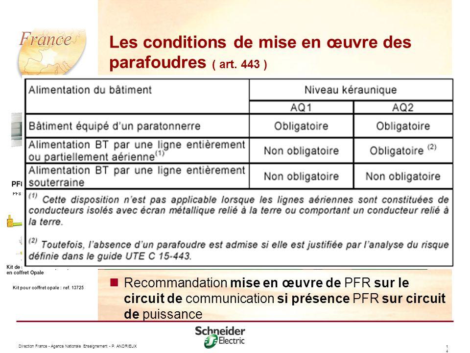 Les conditions de mise en œuvre des parafoudres ( art. 443 )