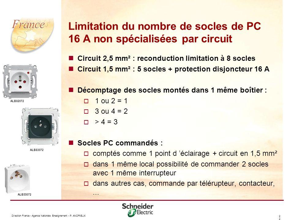 Limitation du nombre de socles de PC 16 A non spécialisées par circuit