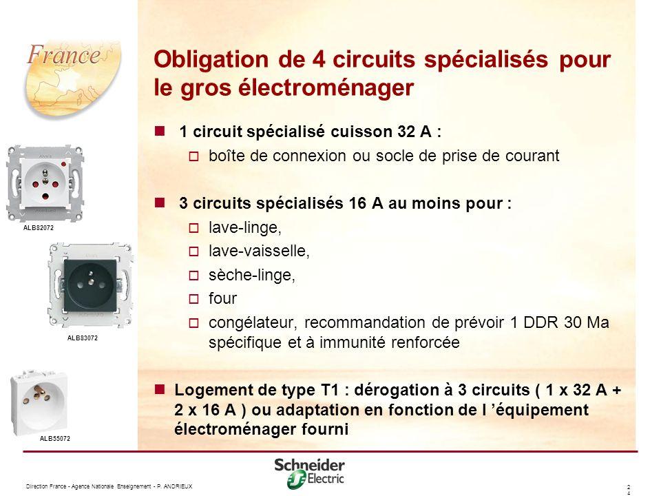 Obligation de 4 circuits spécialisés pour le gros électroménager