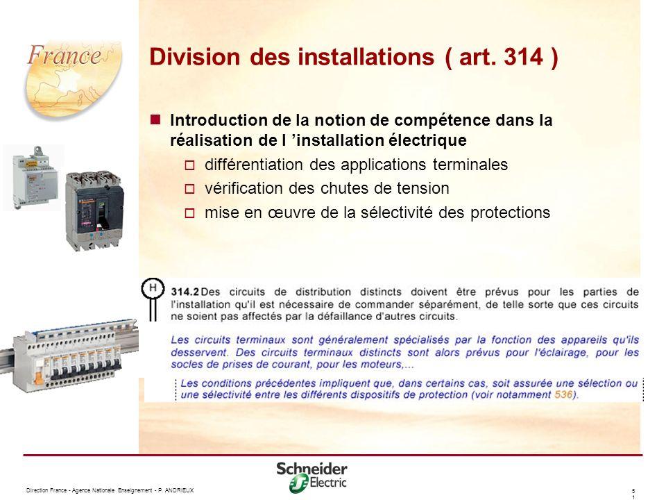 Division des installations ( art. 314 )