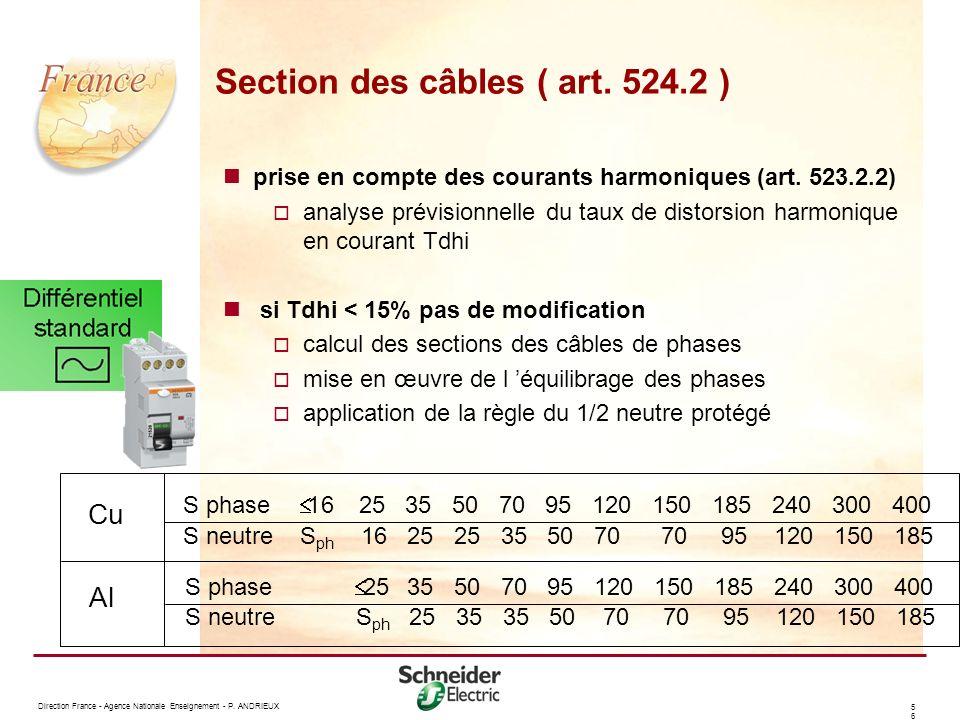 Section des câbles ( art. 524.2 )