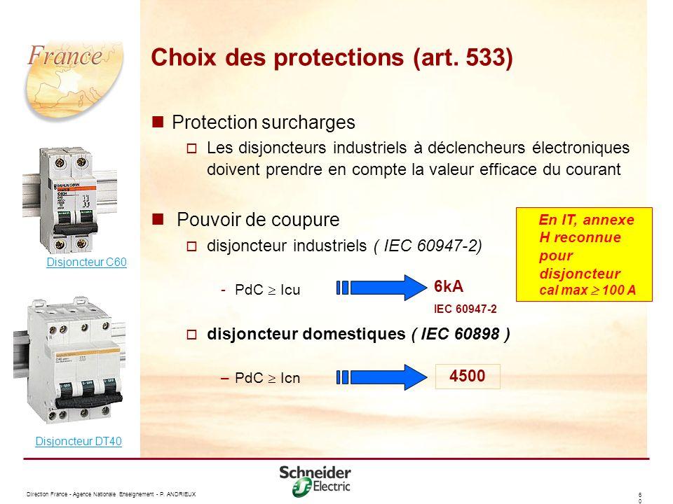 Choix des protections (art. 533)