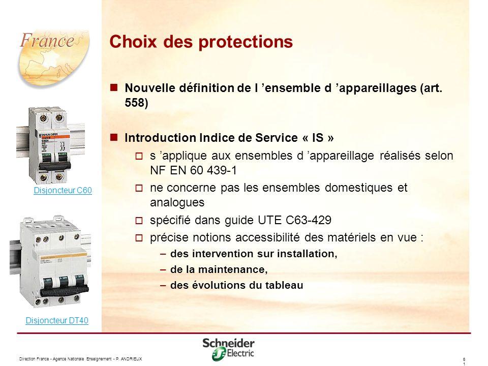 Choix des protections Nouvelle définition de l 'ensemble d 'appareillages (art. 558) Introduction Indice de Service « IS »