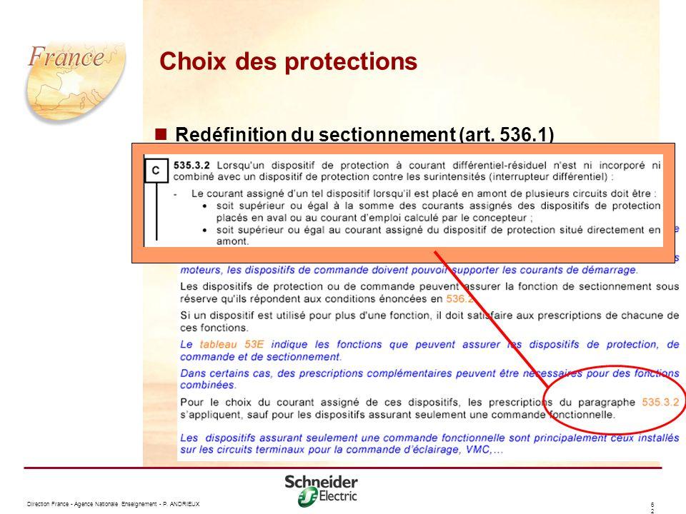 Choix des protections Redéfinition du sectionnement (art. 536.1)