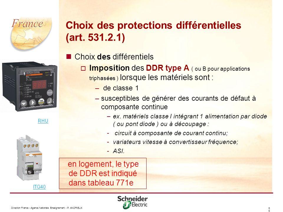 Choix des protections différentielles (art. 531.2.1)