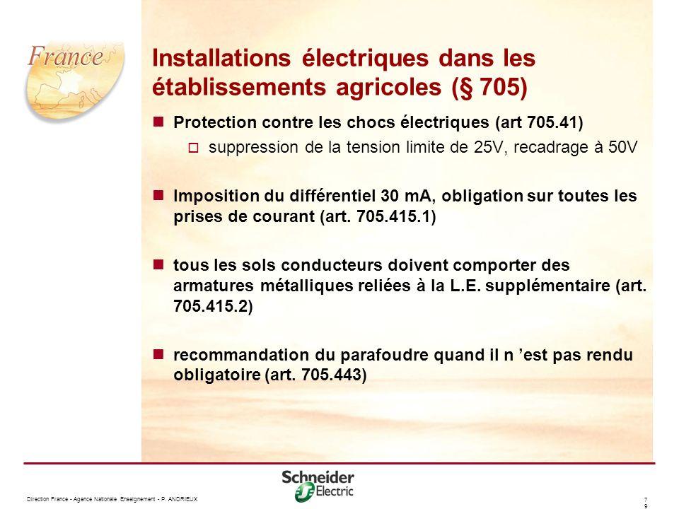 Installations électriques dans les établissements agricoles (§ 705)