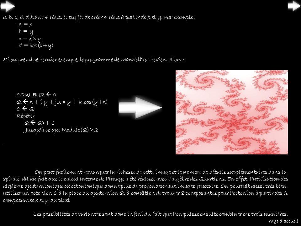 a, b, c, et d étant 4 réels, il suffit de créer 4 réels à partir de x et y. Par exemple : - a = x - b = y - c = x  y - d = cos(x+y)