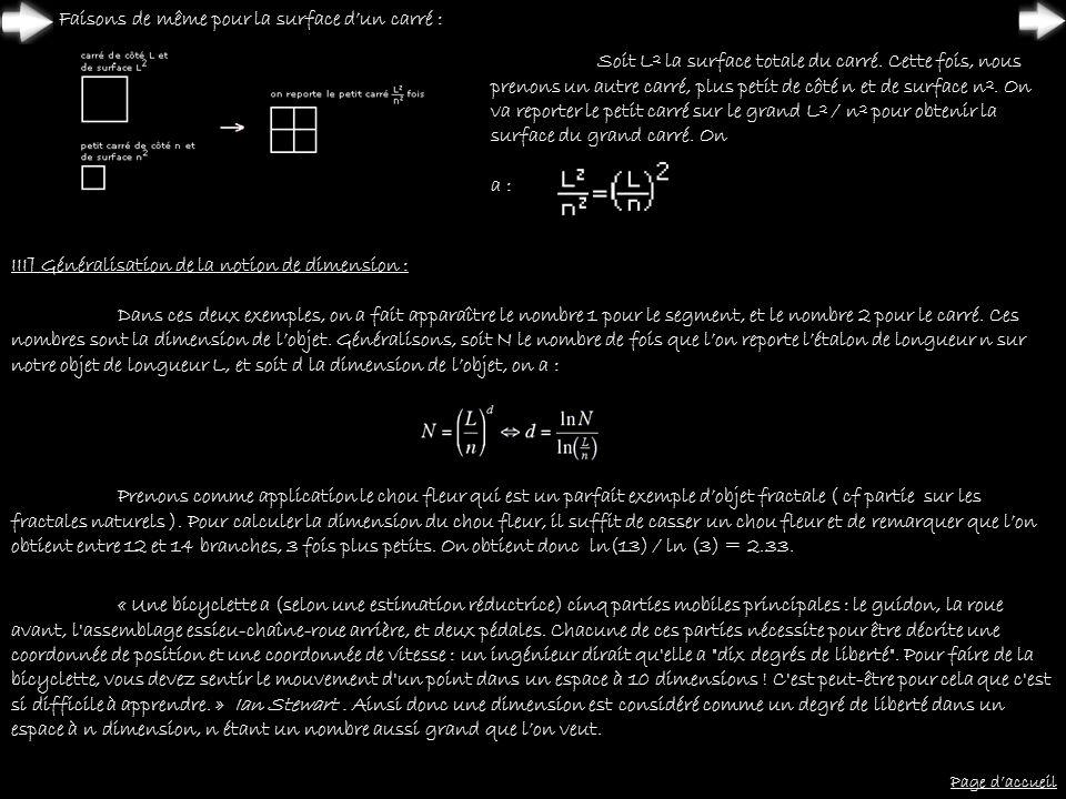 Faisons de même pour la surface d'un carré :