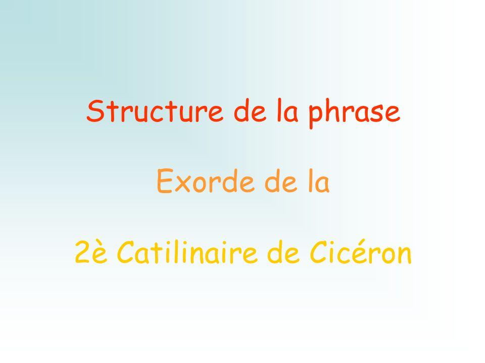 Structure de la phrase Exorde de la 2è Catilinaire de Cicéron