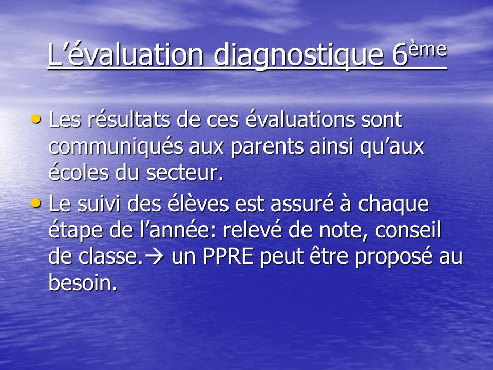 L'évaluation diagnostique 6ème